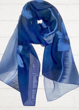 Шарф шифоновый цветок синий