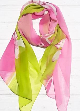 Шарф шифоновый цветок розовый/фисташка