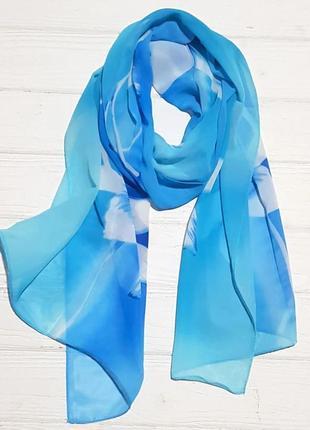 Шарф шифоновый цветок голубой