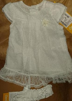 Платье  белое для девочки  с повязкой 0-3 новое