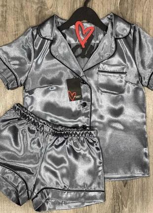 Новая женская атласная пижама, рубашка и шорты.