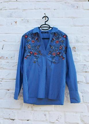 Рубашка в полоску с вышивкой от bershka