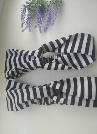 Повязка чалма в полоску ободок узелок аксессуары для волос