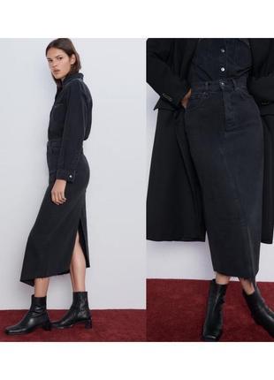Новая джинсовая юбка миди zara с вырезом