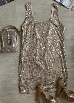 Платье в пайетках / блестящее платье gina tricot