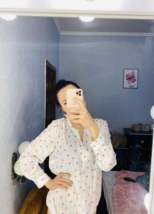 Блуза с принтом фламинго 🦩