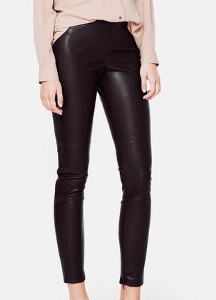 H&m мягкие шоколадные брюки из экокожи