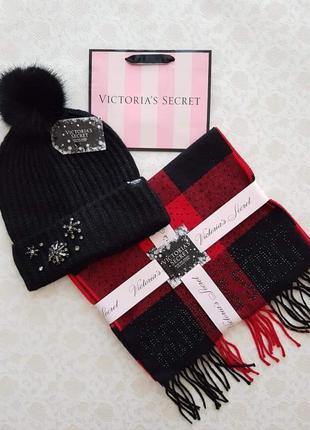 Комплект victoria's secret шапка шарф виктория сикрет вікторія сікрет