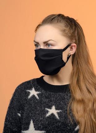 Жіноча чорна захисна маска багаторазова