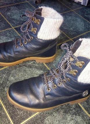 #розвантажуюсь зимние ботинки на меху натуральная кожа стиль под тимберленд синие сапоги
