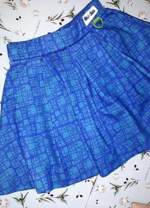🌿1+1=3 фирменная яркая синяя короткая пышная юбка guides, размер 42 - 443 фото