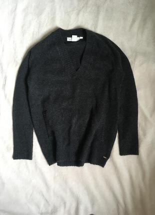Графитовый свитер с карманом, джемпер h&m