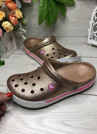 Кроксы с блестками золотые сабо crocs gold