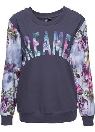Bpc блуза світшот з шифоновими рукавами та написом