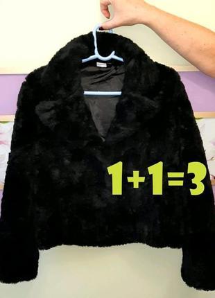 🌿1+1=3 стильная черная исскуственная короткая шуба тедди чебурашка m&s, размер 46 - 48