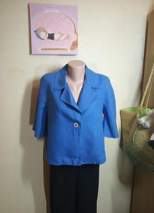 Бомбезный синий пиджак  лен 16 размер