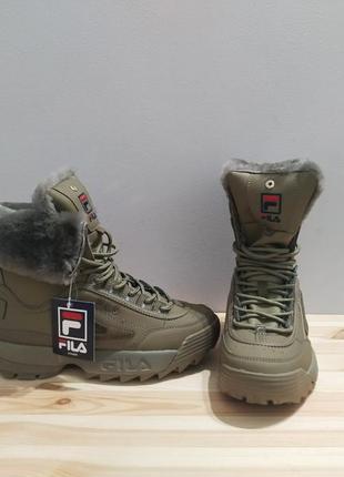 Ботинки  fila disruptor shearling оригинал, ботинки на шнурках хаки, высокие кроссовки