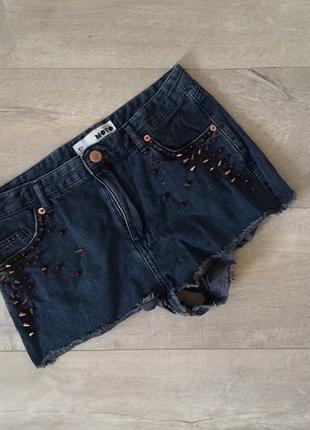 Джинсовые стильные шорты  темно-синие