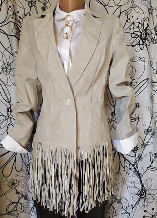Куртка курточка с бахромой кожаная 100%кожа