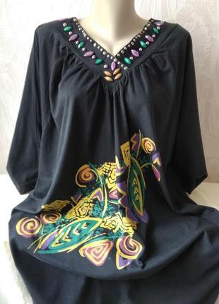 Трикотажное платье в стиле бохо большого размера
