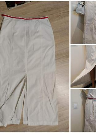 Стильная белая юбка карандаш макси из качественного коттона