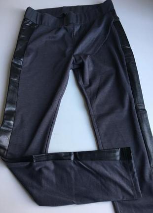 Лосины / леггинсы темно серые со вставками черного кожзама  9th avenue