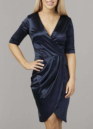 Роскошное темно-синее атласное платье с запахом1 фото