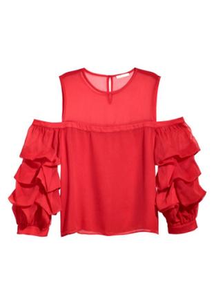 Блуза красная с открытыми плечами, рукава рюши, объемные, буфы, h&m