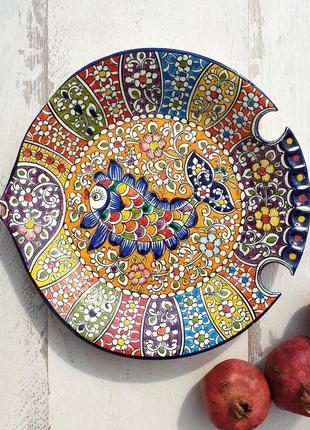 """Тарелка """"рыбка"""" d 27 cm ручной работы. узбекистан (2)"""