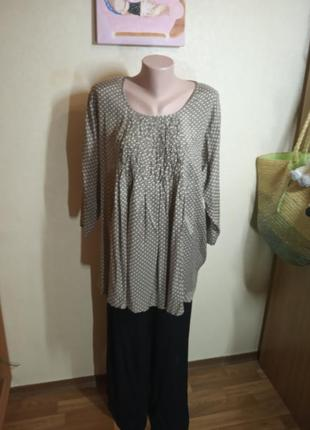 Блуза туника большого размера в горошек