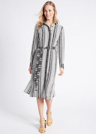 Стильное платье рубашка в полоску