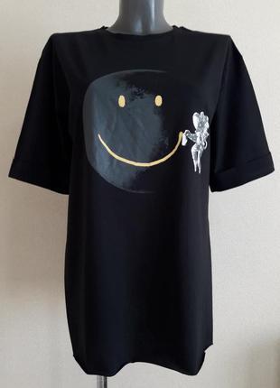 Модная,крутая,длинная  футболка,туника,оверсайз,с разрезами по бокам и рукавом 1/2