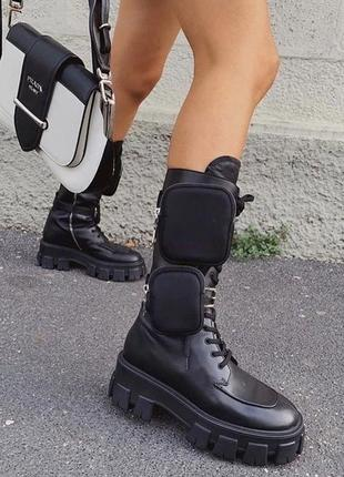 Крутейшие ботинки prada милитари с карманами, р.39