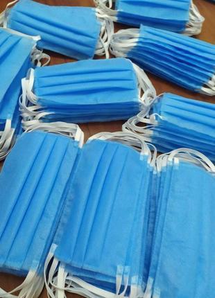 Защитная {медицинская} маска 3-х слойная, в синем цвете, из спанбонда, быстрая отправка