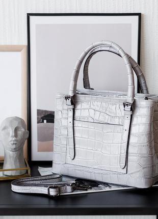 Женская итальянская серая кожаная сумка с тиснением крокодила, италия