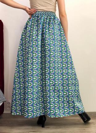 Шикарная пышная юбка макси на высокой посадке8 фото