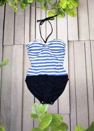 Слитный купальник бандо в полоску синий голубой