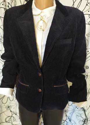 Пиджак вельвет с кожаными латками на рукавах темно-синий