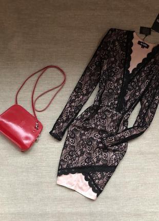 Платье ажурное чёрное на нюдовой подкладке от missguided