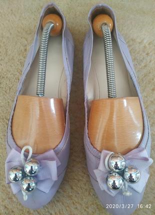 Кожаные туфли- балетки