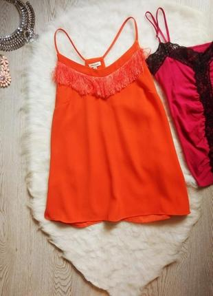 Морковная оранжевая майка блуза шифон с бретелями бахромой в бельевом стиле