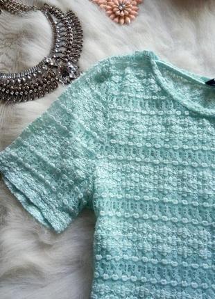 Голубой кроп топ футболка короткая мятная бирюзовая сетка блуза с рукавами нарядная2 фото