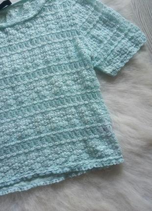 Голубой кроп топ футболка короткая мятная бирюзовая сетка блуза с рукавами нарядная3 фото