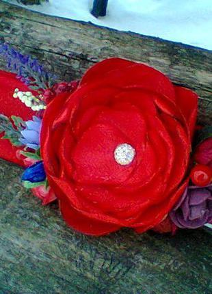 Повязка красная с цветами, бордовая повязка, повязка с цветком