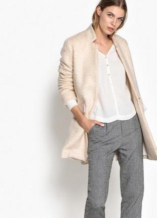 Шерстяное двубортное пальто на одну пуговицу от suncoo франция