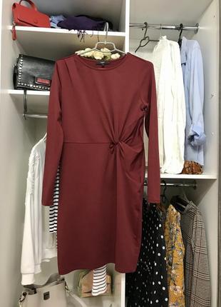 #розвантажуюсь платье бордовое футляр с драпировкой на талии next