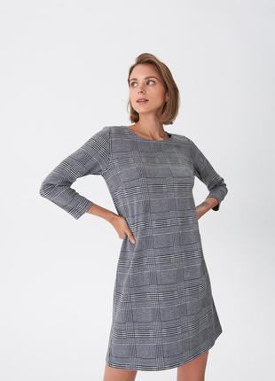 #розвантажуюсь новое серое мини платье в клетку на весну от house