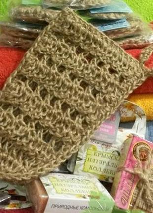 Натуральная джутовая мочалка -варежка для тела, крым (массажная)