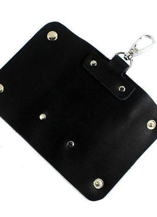 Стильная кожаная ключница vintage 14934 черная, черный