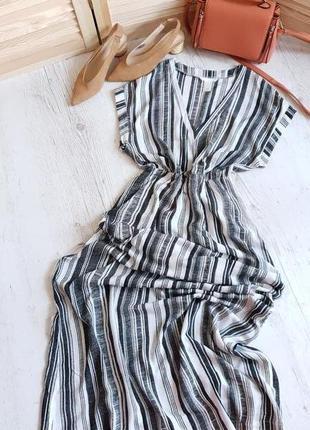 Полосатое макси платье h&m